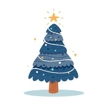 Рождественская елка в плоском дизайне