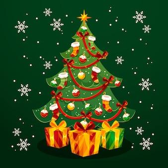 フラットなデザインのクリスマスツリー 無料ベクター