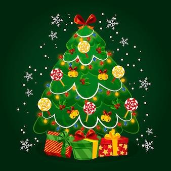 フラットなデザインのクリスマスツリー