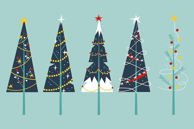 Flat design christmas trees pack