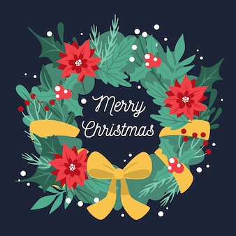Flat design christmas wreath background
