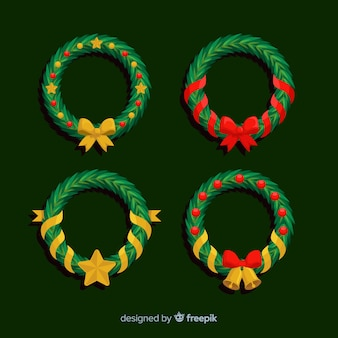 Flat design christmas wreath collection
