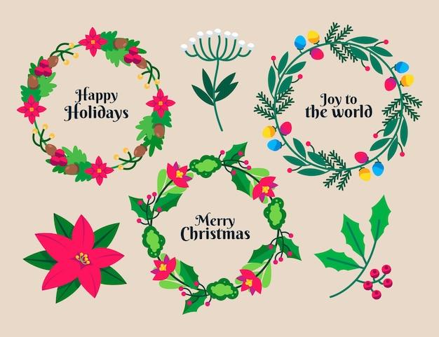 フラットデザインのクリスマスリースコレクション
