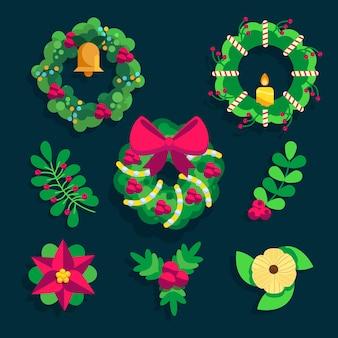 Коллекция рождественских венков в плоском дизайне