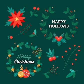 Collezione di ghirlande natalizie design piatto
