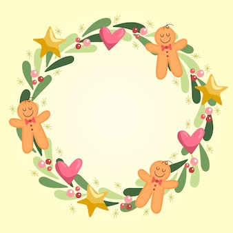 Flat design christmas wreath concept