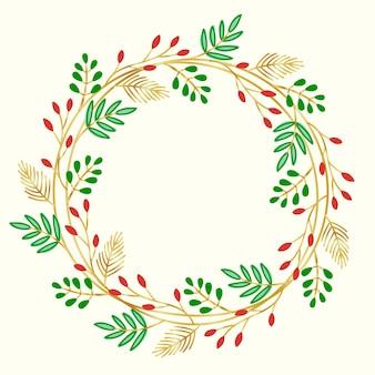 Flat design christmas wreath concept