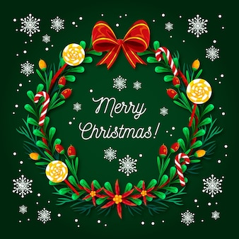 Flat design christmas wreath illustration
