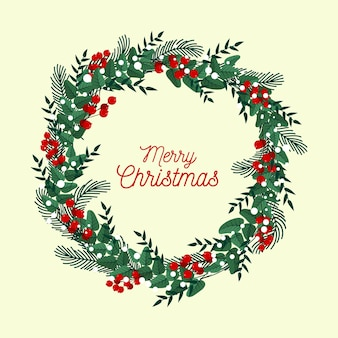 Flat design christmas wreath