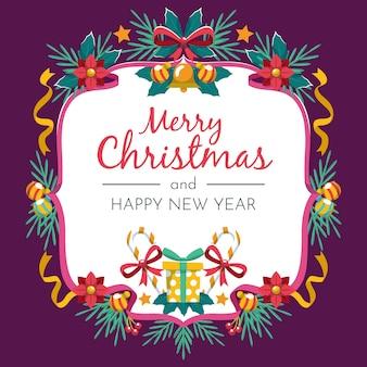 Flat design christmas wreath