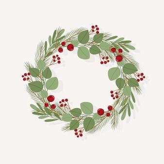 フラットなデザインのクリスマスリース