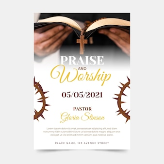 Flat design church flyer ready to print
