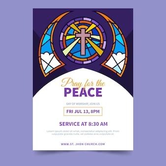 Flat design church flyer ready to print