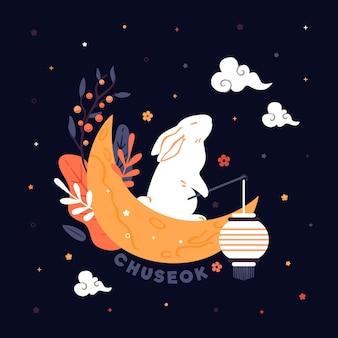 フラットなデザインの秋夕コンセプト
