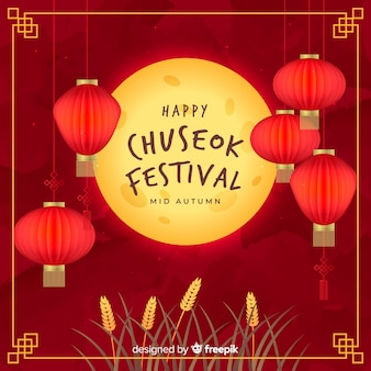 Flat design of chuseok full moon