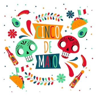 Плоский дизайн синко де майо и черепа