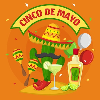 Flat design cinco de mayo background