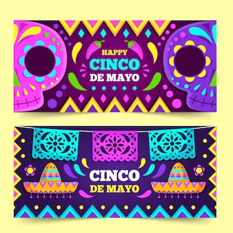 Flat design cinco de mayo banners template