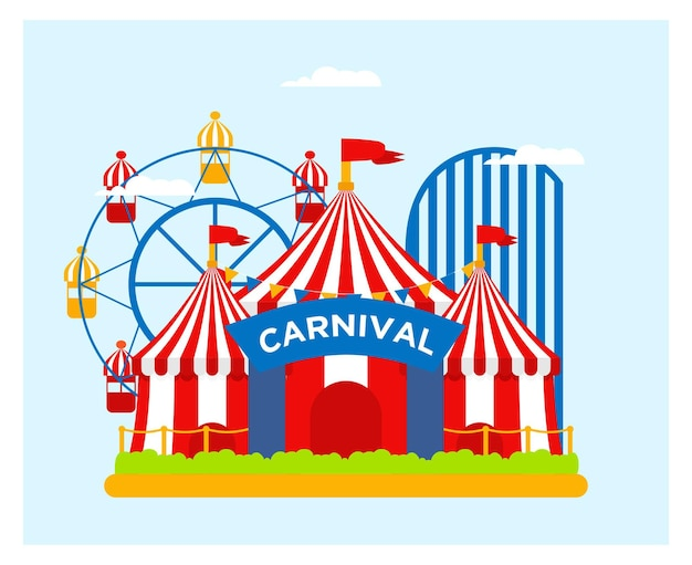 Flat design of circus and carnival banner