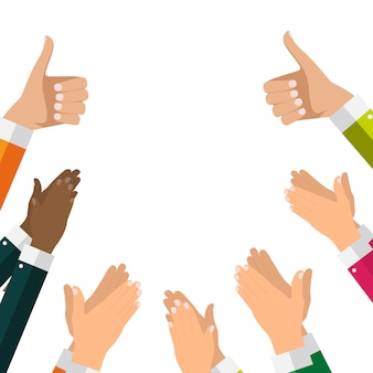 Flat design clapping hand applause background