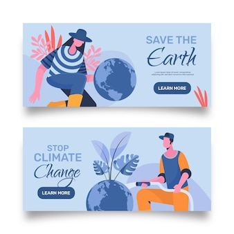 Flat design climate change banners template