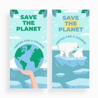 Modello di banner per il cambiamento climatico di design piatto