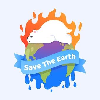 フラットなデザインの気候変動の概念図