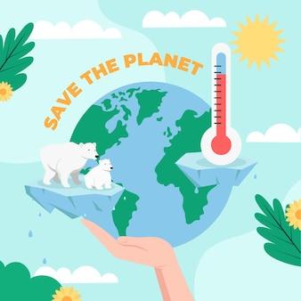 フラットなデザインの気候変動の概念