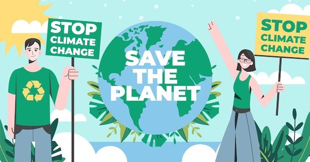 Post di facebook sul cambiamento climatico dal design piatto