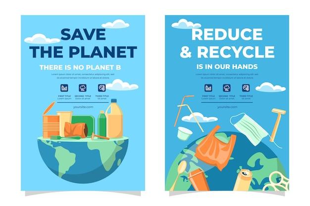 Flat design climate change flyer