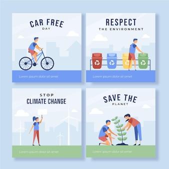 フラットデザインの気候変動instagramの投稿