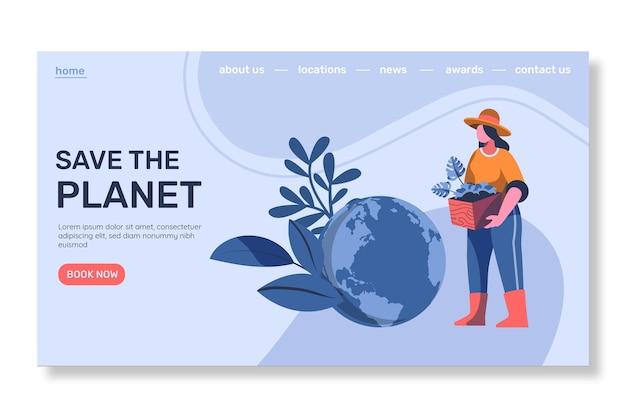 フラットデザインの気候変動のランディングページ
