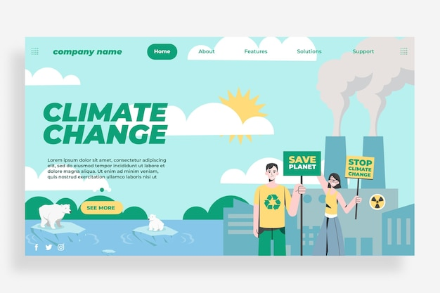 Pagina di destinazione del cambiamento climatico dal design piatto