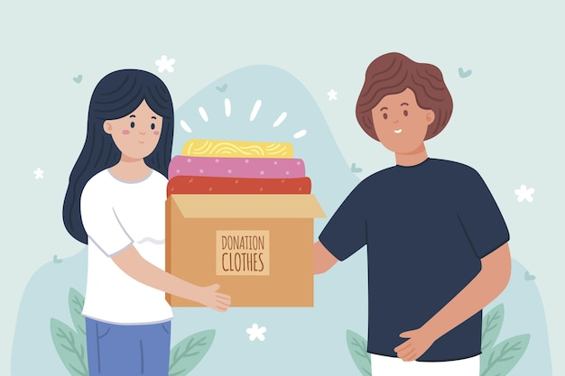 Flat design clothing donation concept