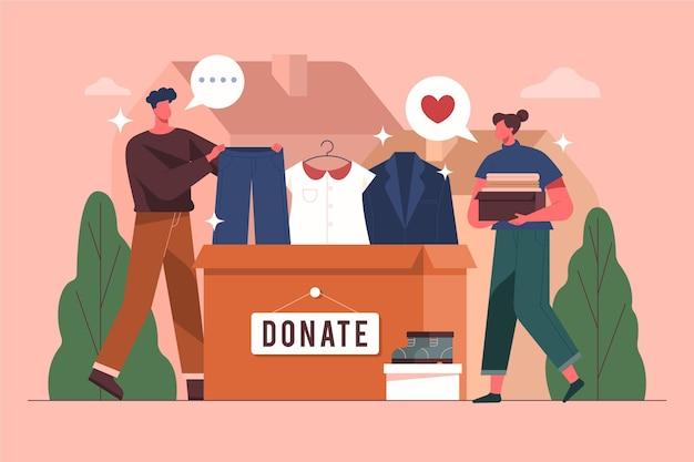 Плоский дизайн концепции пожертвования одежды