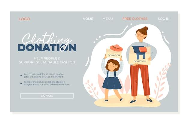 Целевая страница для пожертвований в плоском стиле