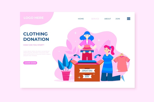 Flat design clothing donation web template