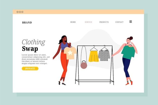 フラットデザインの衣類交換のランディングページ