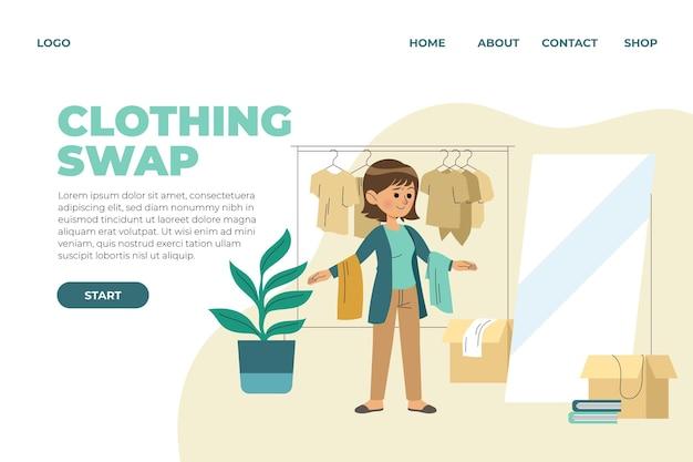 フラットデザインの衣類交換ウェブテンプレート