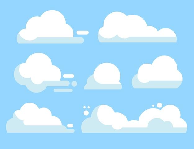 Плоский дизайн облачной коллекции