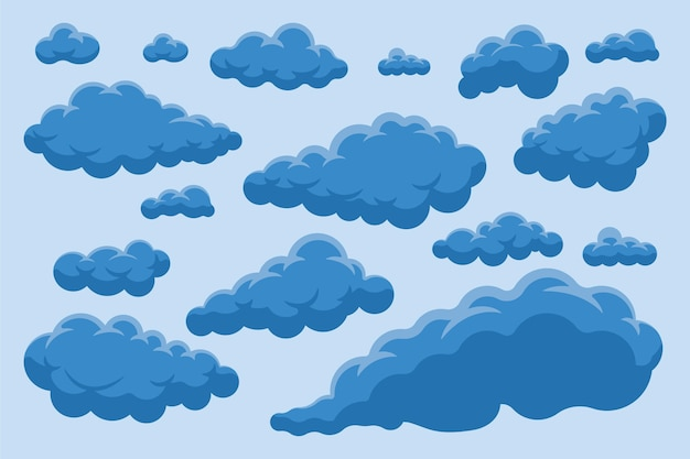 Collezione di nuvole dal design piatto