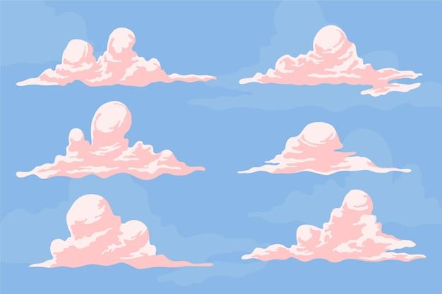 평면 디자인 구름 그림 팩