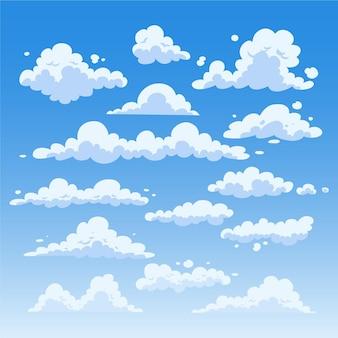 Плоский дизайн облака в коллекции неба