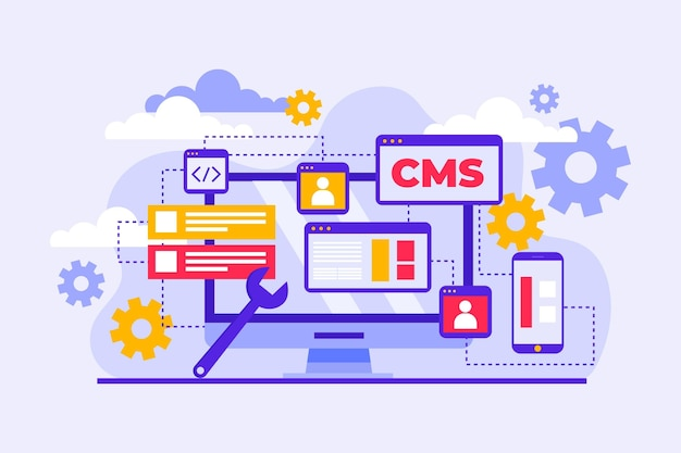 Flat design cms concept illustrated