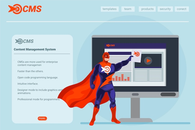 Flat design cms concept landing page illustrated