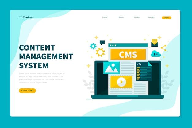 Flat design cms concept web template
