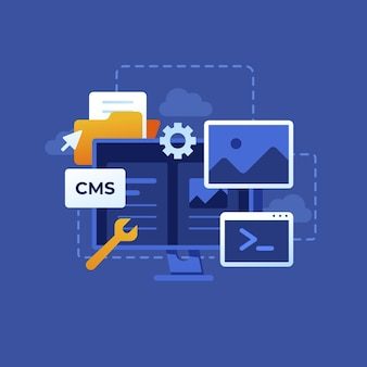 コンピューターとフラットなデザインのcmsコンセプト