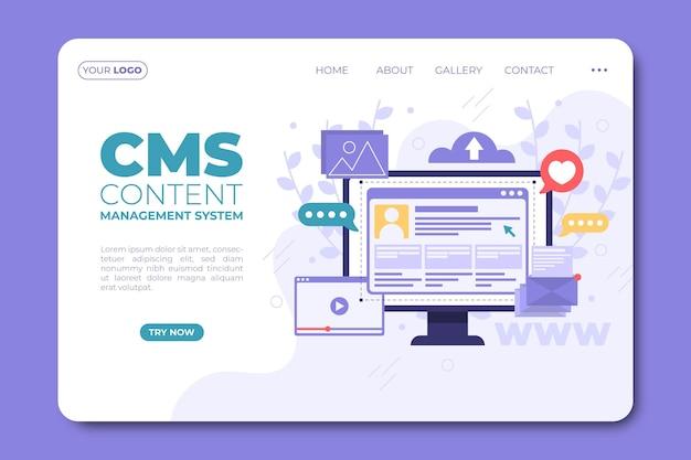 Целевая страница контента cms в плоском дизайне