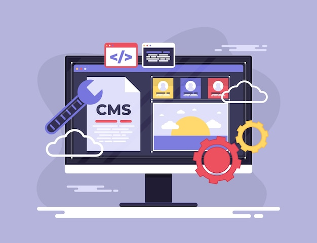 Flat design cms digital programs