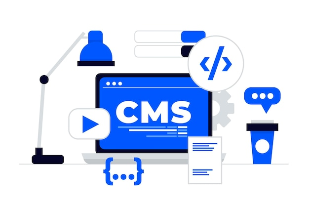 Flat design cms illustration